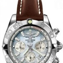 Breitling CHRONOMAT 44 Grey Pearl Dial Brown Leather Steel Case