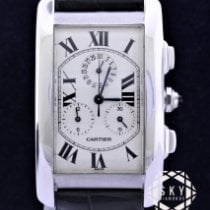 Cartier Tank Américaine pre-owned White Chronograph Date Crocodile skin