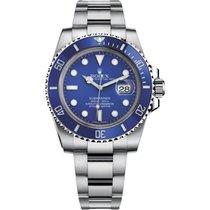 Rolex Submariner Date Ouro branco 40mm Azul Sem números