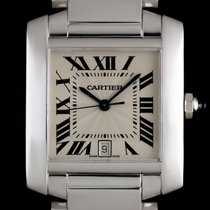 Cartier 18k White Gold Silver Guilloche Dial Tank Francaise Gents