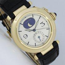 Cartier Pasha gebraucht 38mm Weiß Mondphase Datum Krokodilleder