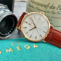 Omega Rose Pink Gold Plated Mens vintage watch + green Omega box