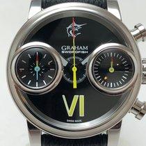 Graham Swordfish Staal 48mm Zwart Geen cijfers