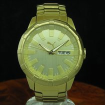 Puma Time Gold Mantel / Edelstahl Day Date Herrenuhr / Ref...