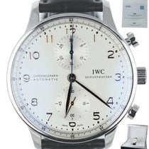 IWC Portuguese Chronograph pre-owned 40.9mm White Chronograph Crocodile skin