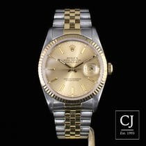 Rolex Datejust 36mm Steel & Yellow Gold Baton Dial Fluted...