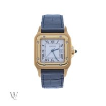 Cartier Yellow gold Automatic White 29mm pre-owned Santos Galbée