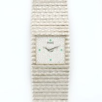 Piaget White Gold Emperador Diamond Emerald Bracelet Watch