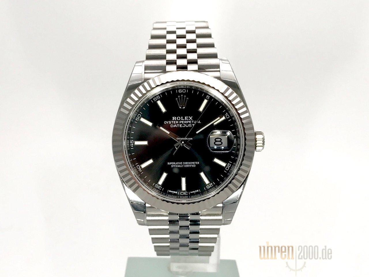 Rolex Datejust 41 Edelstahl Weigold 126334 Schwarz Jubile