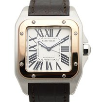卡地亚 (Cartier) Santos 18k Rose Gold White Automatic W20107X7