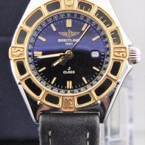 Breitling J Class Ladies D52064 18k Yellow Gold Leather Strap...