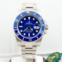 Rolex Mens 40mm 18k White Gold Submariner 116619LB Blue Face