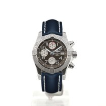 Breitling Avenger II 43 Grey Dial Blue Leather Strap Buckle