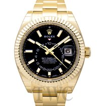 Rolex Yellow gold Automatic Black 42.00mm new Sky-Dweller