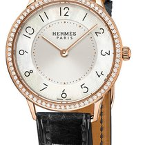 Hermès Rose gold Quartz Mother of pearl 32mm new Slim d'Hermès