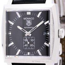 TAG Heuer Monaco Steel Leather Automatic Mens Watch Ww2110...