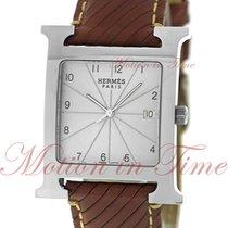 Hermès Heure H Stahl 30.5mm Silber Arabisch