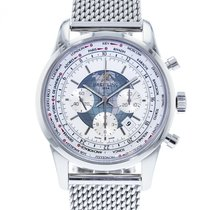 Breitling Transocean Chronograph Unitime pre-owned 46mm White Chronograph Date GMT Steel