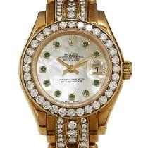 Rolex Lady-Datejust Pearlmaster Ouro amarelo 29mm Madrepérola Sem números