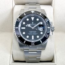 Rolex Submariner Date Staal 40mm Zwart Geen cijfers