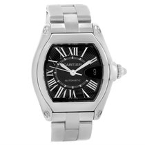 Cartier Roadster Black Roman Dial Mens Watch W62041v3 Box Strap