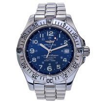 Breitling Superocean Stainless Steel Watch Blue Arabic Dial...
