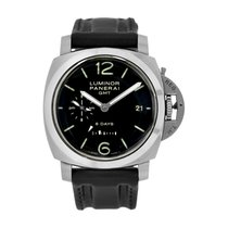 Panerai Luminor 1950 8 Days GMT usado 44mm Preto Data GMT/Segundo fuso horário Pele