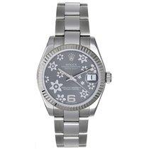 Rolex Datejust Midsize Men's/Ladies Silver Flower Steel...
