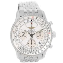 Breitling Navitimer Chrono Silver Dial Steel Bracelet Watch...