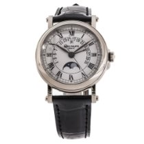 Patek Philippe Perpetual Calendar pre-owned 36mm White Moon phase Panorama date Date Weekday Month Perpetual calendar Leather