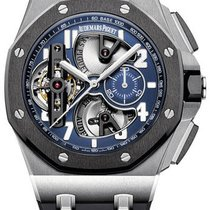 Audemars Piguet Royal Oak Offshore Tourbillon Chronograph Platin 44mm Blau Arabisch
