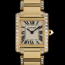 Cartier 18k Y/G Silver Dial Diamond Set Tank Francaise Ladies