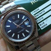 Rolex Datejust Il 41mm Bezel Ouro Branco Blue Dial Impecavel 2014