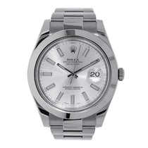 Rolex DATEJUST II 41mm Stainless Steel Silver Index Watch 116300