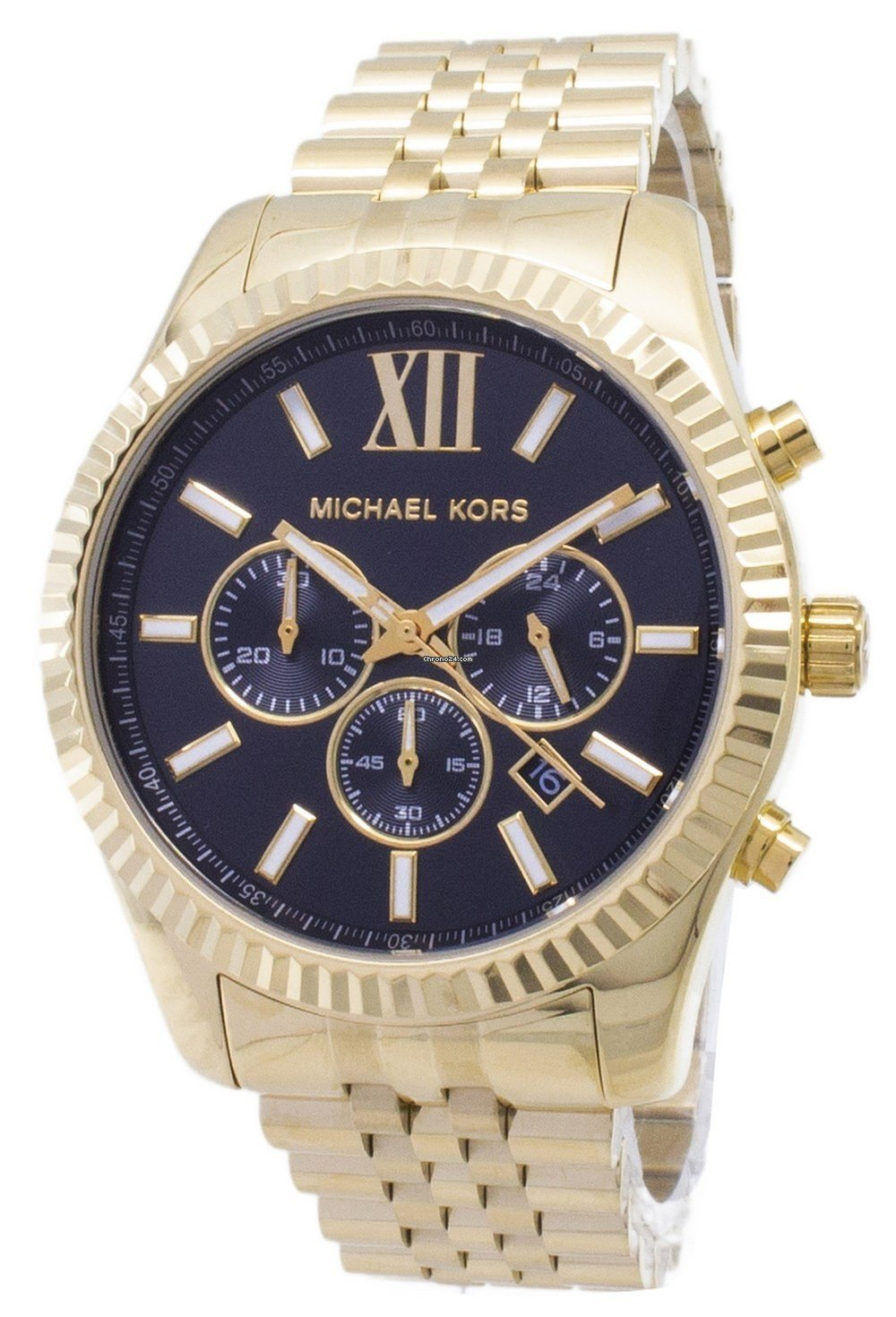 19b4c40a1de1 Michael Kors Lexington Chronograph Black Dial Gold-tone MK8286... for  150  for sale from a Seller on Chrono24
