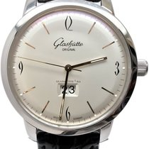 Glashütte Original Sixties Panorama Date pre-owned 42mm Silver Date Crocodile skin