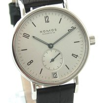 NOMOS Tangente pre-owned 38mm Grey Date Leather