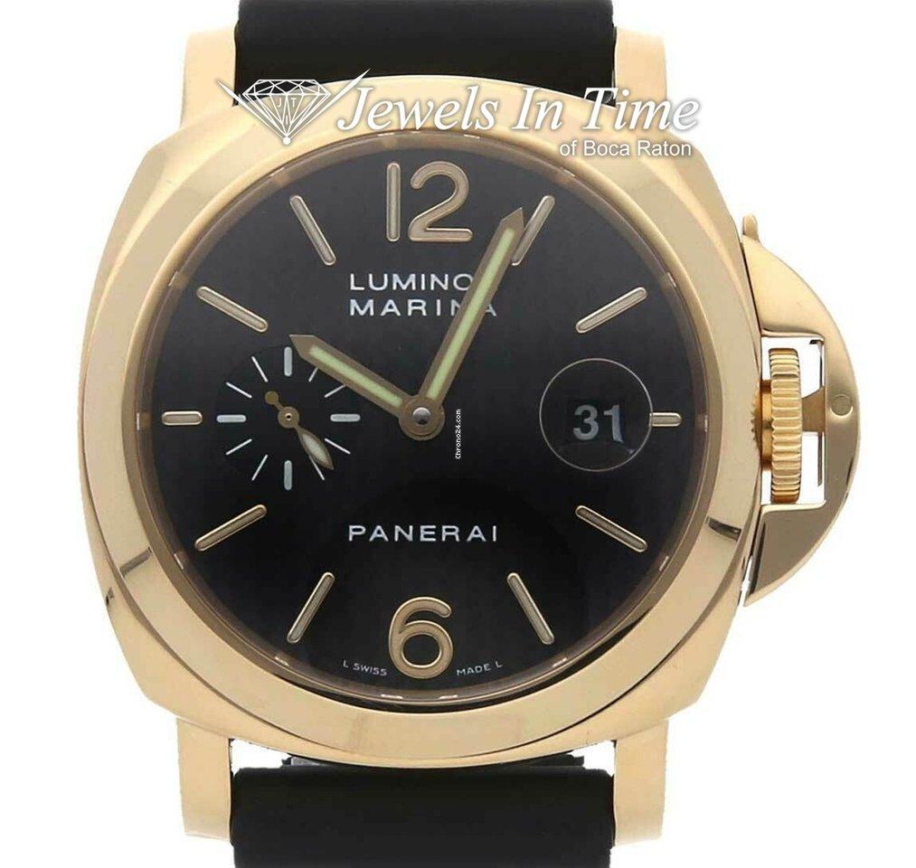 Panerai Marina PAM 140 18K Yellow Gold Mens 44mm Watch & Box Set