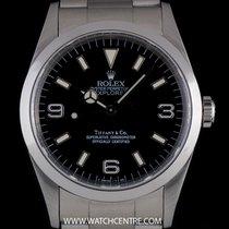 Rolex S/S O/P Rare Double Name Tiffany & Co Explorer I B&P 14270