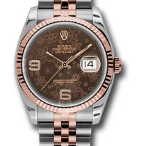 Rolex Datejust pre-owned 36mm Brown Date Gold/Steel