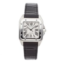 Cartier Santos 100 pre-owned 44.2mm Silver Crocodile skin