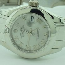 Rolex Pearlmaster pre-owned 26mm Silver Date White gold