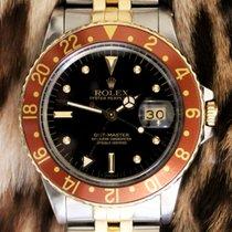 Rolex GMT-Master Gold/Stahl 40mm Schwarz Keine Ziffern