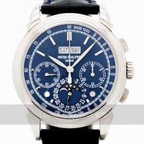 Patek Philippe Perpetual Calendar Chronograph Złoto białe 41mm Niebieski