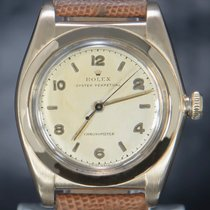 Rolex Bubble Back Red gold 32mm Silver Arabic numerals