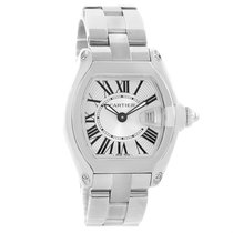Cartier Roadster Silver Dial Roman Numerals Steel Ladies Watch...
