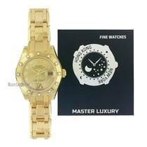 Rolex Lady-Datejust Pearlmaster Žluté zlato 29mm Šampaňská barva Římské