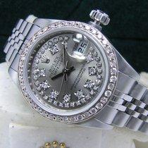 Rolex Lady-Datejust 26mm Slate String Diamond Dial Bezel Box...