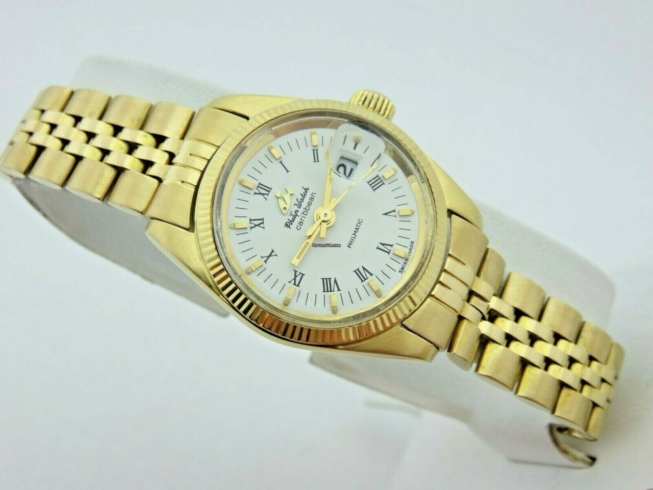 80's Gold Serviced Automatic Caribbean Kt Philip Watch 18 Lady MSUVGLqzp