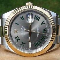 "Rolex Datejust II 116333 SS/18K Silver Green Roman Dial ""G"""
